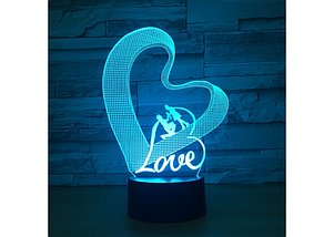 Оригинальный сенсорный 3D светильник Love для с эффектом трехмерного изображения, фото 3
