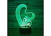 Оригинальный сенсорный 3D светильник Love для с эффектом трехмерного изображения, фото 2