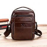 Мужская сумка через плечо Натуральная кожа Барсетка Мужская кожаная сумка для документов планшет Черная, фото 2