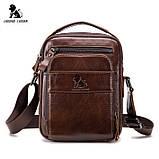 Мужская сумка через плечо Натуральная кожа Барсетка Мужская кожаная сумка для документов планшет Черная, фото 3