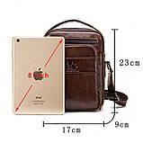 Мужская сумка через плечо Натуральная кожа Барсетка Мужская кожаная сумка для документов планшет Черная, фото 4