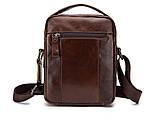 Мужская сумка через плечо Натуральная кожа Барсетка Мужская кожаная сумка для документов планшет Черная, фото 5