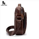 Мужская сумка через плечо Натуральная кожа Барсетка Мужская кожаная сумка для документов планшет Черная, фото 7