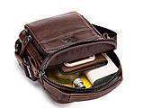 Мужская сумка через плечо Натуральная кожа Барсетка Мужская кожаная сумка для документов планшет Черная, фото 8