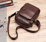 Мужская сумка через плечо Натуральная кожа Барсетка Мужская кожаная сумка для документов планшет Черная, фото 9