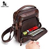 Мужская сумка через плечо Натуральная кожа Барсетка Мужская кожаная сумка для документов планшет Черная, фото 10