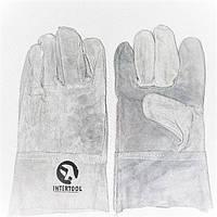 Перчатки рабочие сварщика, спилковые, краги, пятипалые INTERTOOL