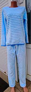 Пижама женская махровая с брюками голубого цвета 40-54 р, женские пижамы от украинского производителя