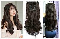 Волосы термо пряди на заколках 8 волнистых прядей длина 52см №4 темно-каштановый