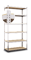Стеллаж Эталон, 2520х900х400 на болтовом соединении, оцинкованный, 5 полок, ДСП, 200 кг/полка