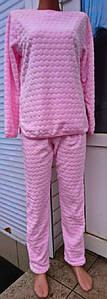 Пижама женская махровая с брюками розового цвета объемный узор 40-54 р, женские пижамы от оптом производителя