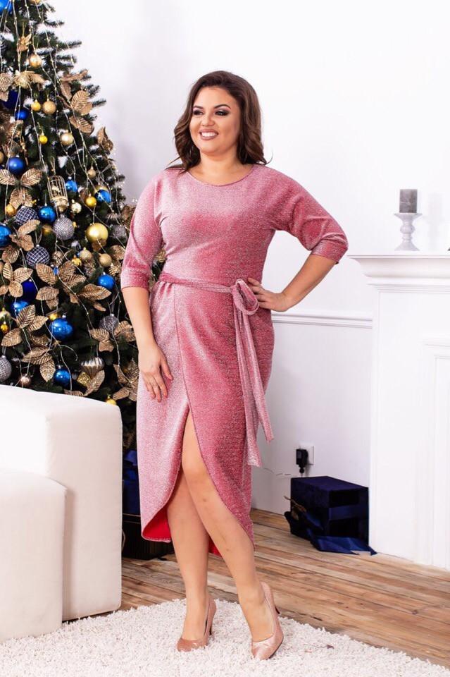 Платье нарядное, модель 823 батал, цвет - розовый