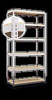 Стеллаж Эталон, 2280х900х400 на болтовом соединении, белый, 5 полок, ДСП, 200 кг/полка