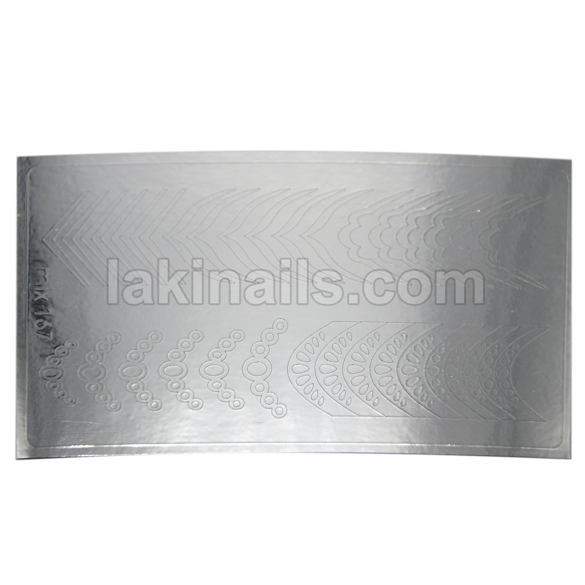 Металлизированные наклейки, серебро, 167S