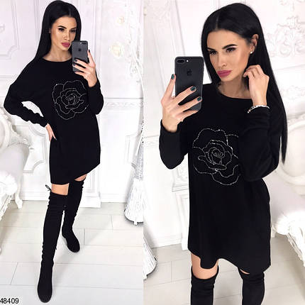 Модное платье короткое широкого кроя длинные рукава ангора черного цвета, фото 2
