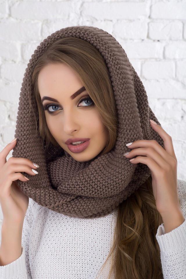 женский вязаный шарф хомут продажа цена в харькове шарфы от