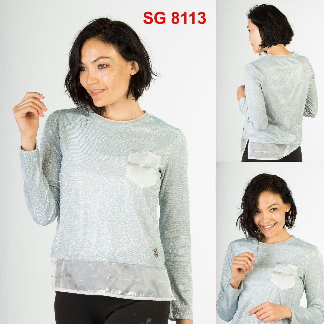 Блуза с люрексом SOGO Турция люкс Голубая