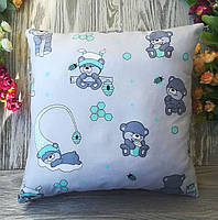 Подушка детская медвежата в мятных колпочках,  35 см * 35 см