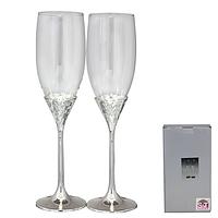 Набор бокалов для шампанского Нежность  220мл,2 шт. Материал- стекло,ножка мельхиор.