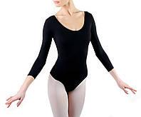 Купальник женский классический для танцев с длинным рукавом Dance&Sport N 6023 черный, хлопок