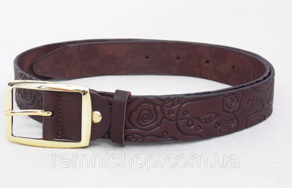 Женский коричневый кожаный ремень JK в подарочной коробке