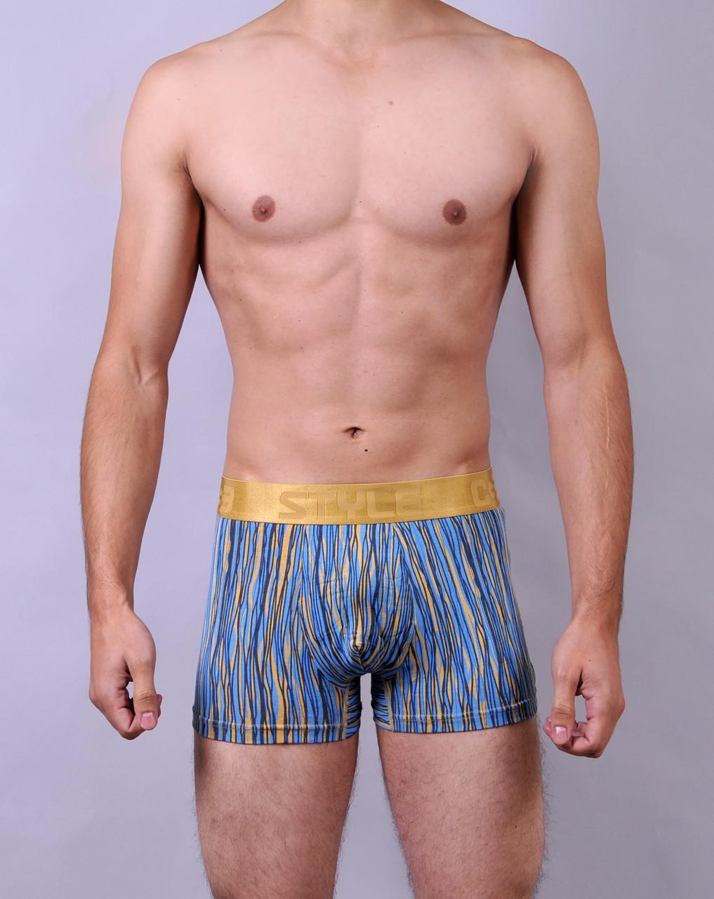 Мужские трусы - боксеры C+3  012  XL  голубые с желтым