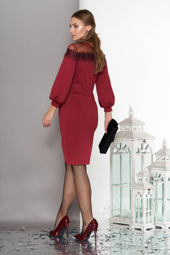 Нарядное платье миди с кружевом бордовое, фото 2