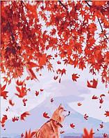 """Премиум Картина по номерам """"Хатико и японский клен"""", отличный подарок, 40 х 50 см, С Коробкой"""