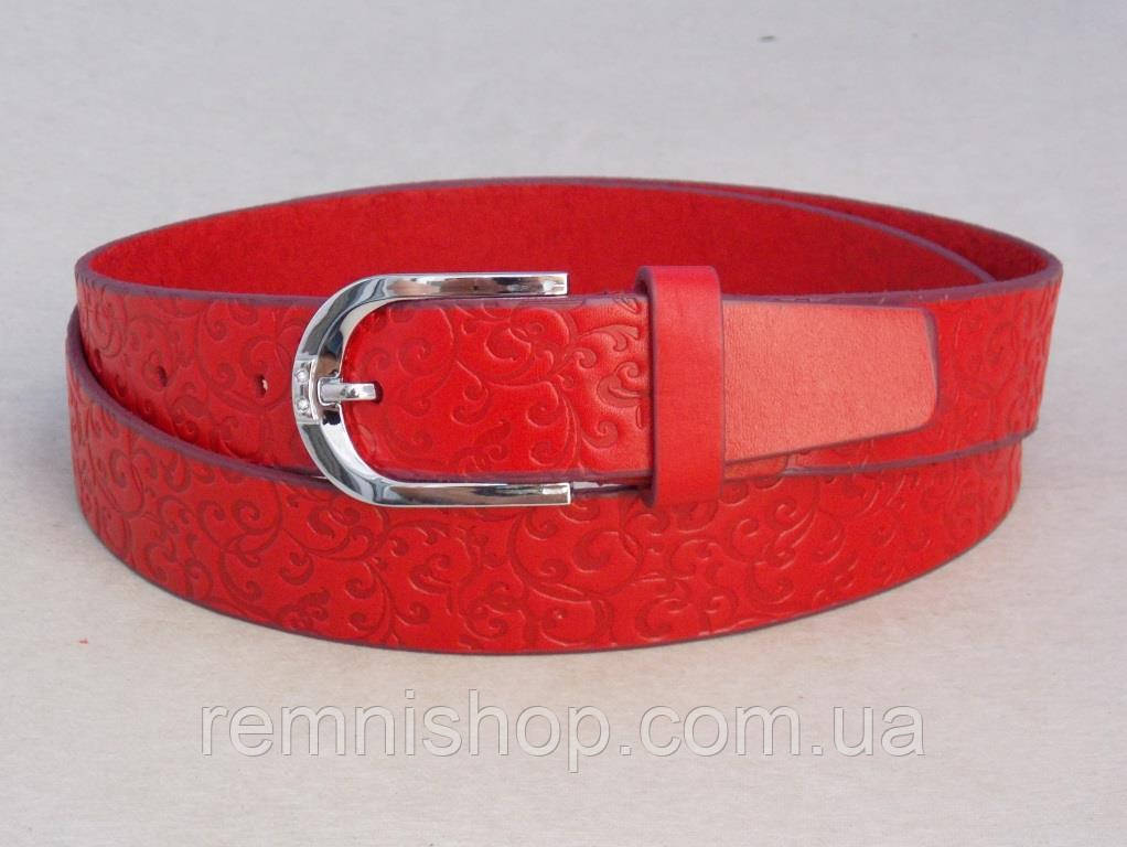 Женский красный кожаный ремень с узором