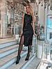 Платье модное нарядное облегающее с разрезом из велюра с паетками разные цвета Smslip2803