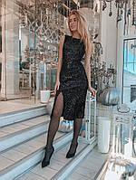 Платье модное нарядное облегающее с разрезом из велюра с паетками разные цвета Smslip2803, фото 1