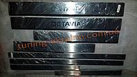 Хром накладки на пороги 8шт надпись штамповка для Skoda Octavia A7 2013+