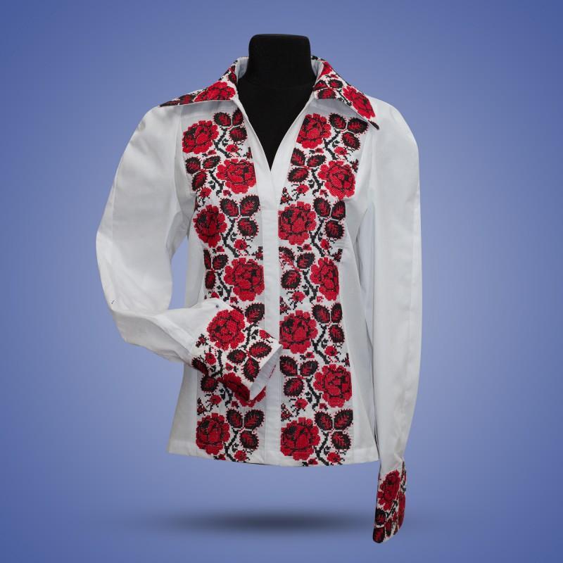 """Вишиванка блуза """"Троянда"""" з відкладним коміром"""