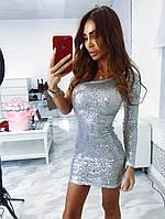 Платье пайетка на один рукав мини