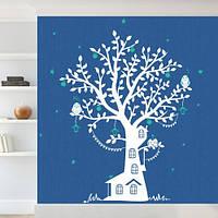 Виниловая интерьерная наклейка на обои Дерево Лесной дом (детские декоративные наклейки на стены, самоклейка)