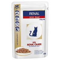 Royal Canin Renal Feline 85гр *12шт паучи с говядиной - диета при почечной недостаточности у кошек