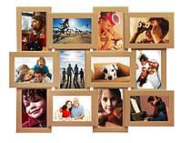 Рамки для 12 фото (дерево) 62*50 см ( фото коллаж ) ФР0014 Бежевый