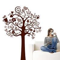 Интерьерная виниловая наклейка на стену Дерево кофе (ПВХ наклейки стикеры декор кухонная наклейка) матовая, фото 1