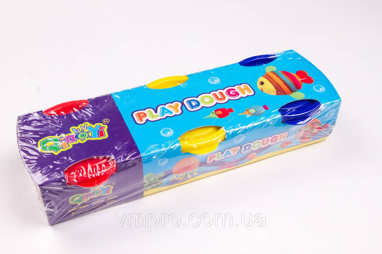 Моделин, тесто (масса для лепки) №2061, 3 цвета по 60 грамм, товары для творчества