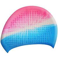 Шапочка для плавания на длинные волосы GP-010-multi-2 мультицвет (розово-сине-белый)