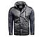 Мужская зимняя куртка серого цвета с капюшоном 1396Z, фото 5