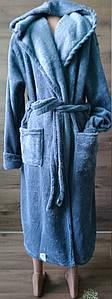 Махровый халат с капюшоном на запах для мужчин 48-58 р, мужские махровые халаты оптом от производителя