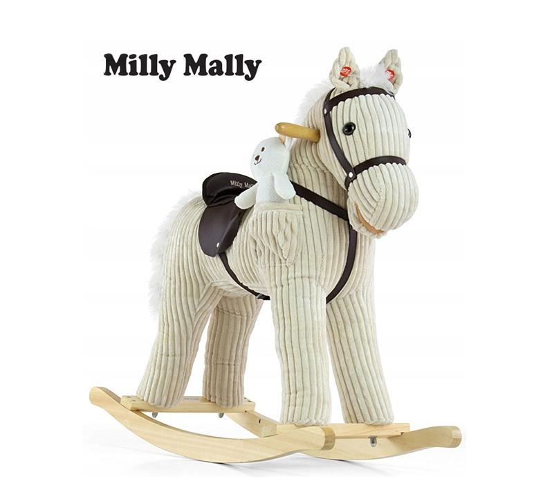 Плюшевая лошадка качалка бежевая с звуковыми эффектами и кармашком под игрушку Milly Mally.
