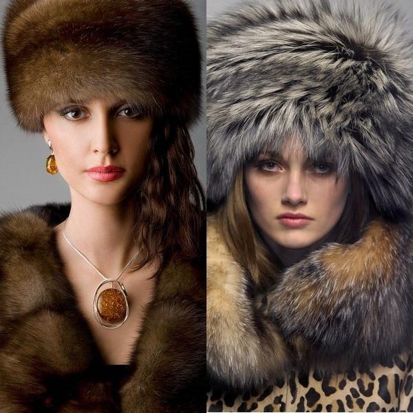 Женские шапки из меха кролика