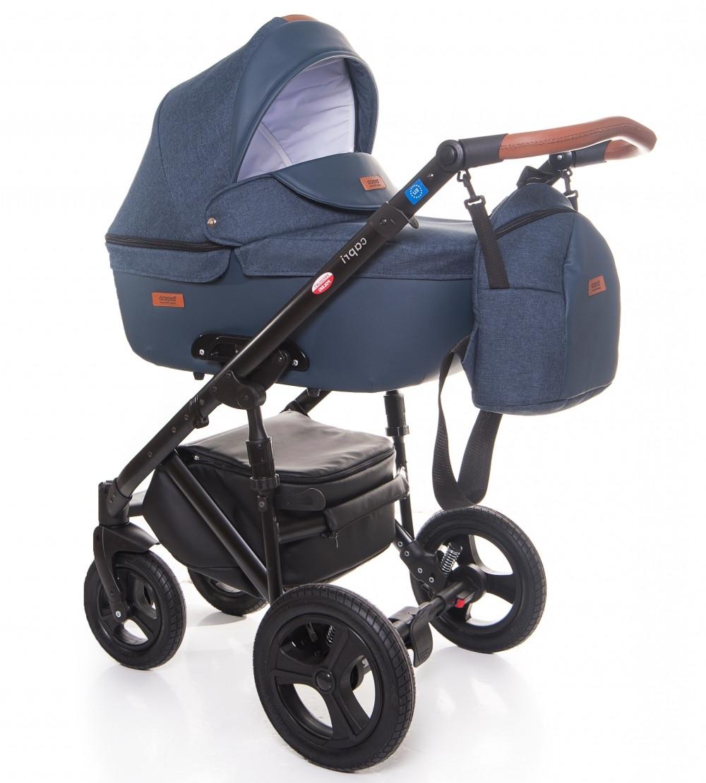 Детская коляска универсальная 2 в 1 Broco Capri Textile blue (Броко Капри, Польша)