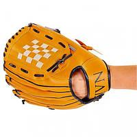 Перчатка (ловушка) для бейсбола цвет желтый PVC, р-р 12,5