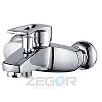 Смеситель для ванны Zegor SHY (SHY-A181) однорычажный с душем литой с коротким изливом цвет хром