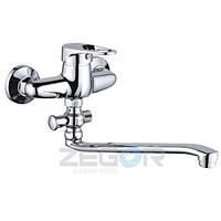 Смеситель для ванны Zegor NHK6-A (LOP-A) однорычажный с душем с длинным изливом цвет хром