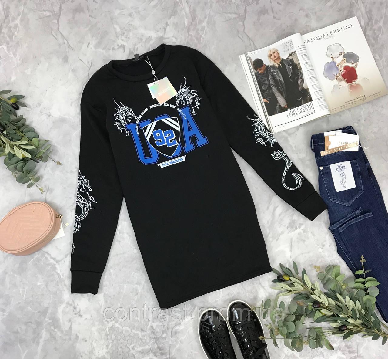 Теплый свитер-платье с принтом  SH1849023