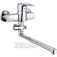 Смеситель для ванны Zegor EDN6 (EDN-A183) однорычажный с душем с длинным изливом цвет хром
